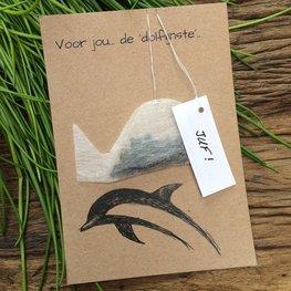 Wenskaart Thee Dolfijn: Voor jou.. de 'Dolfijn'ste - gepersonaliseerd