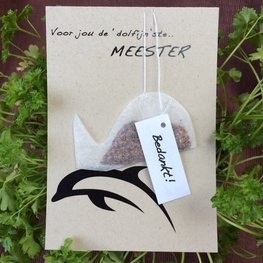 Thee Wenskaart: Voor jou de dolfijn-ste.. Meester
